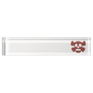 Colorful funny skull name plate