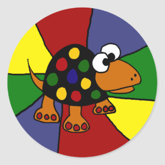 Colorful Funny Spotted Turtle Original Art Round Sticker
