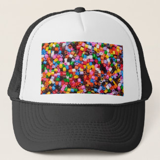 Colorful fusible plastic beads trucker hat