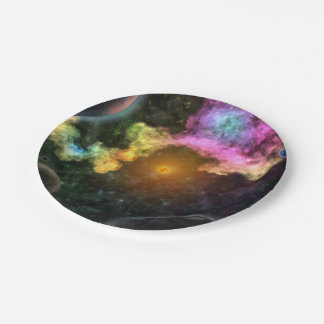 Colorful Galaxy Explosion Paper Plate