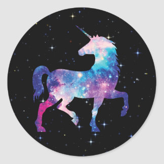 Colorful Galaxy Magical Unicorn Classic Round Sticker