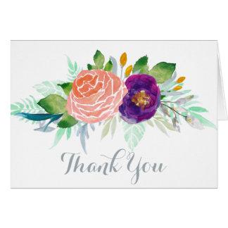Colorful Garden Watercolor Floral Thank You Card