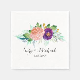 Colorful Garden Watercolor Floral Wedding Disposable Napkins