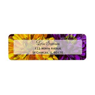 Colorful Garden Zinnia Flowers Return Address Return Address Label