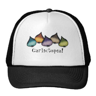 colorful garlic food cooking chef apparel, Garl... Hats