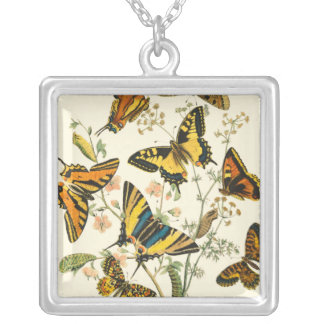 Colorful Gathering of Butterflies and Caterpillars Silver Plated Necklace
