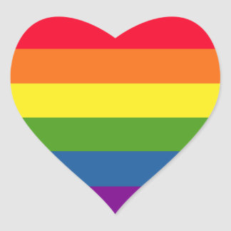 Colorful Gay Rainbow Pride Love Heart Sticker