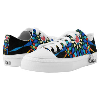 Colorful Gemstones Mosaic Painting on Black Shoes