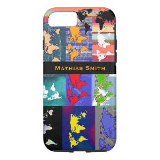 colorful geographic mixed world-maps iPhone 7 case