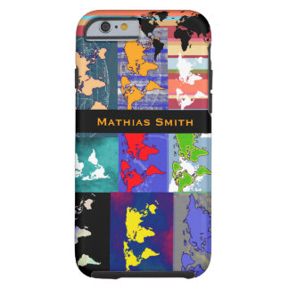 colorful geographic mixed world-maps tough iPhone 6 case