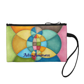 Colorful Geometric Abstract Autism Awareness Coin Purse