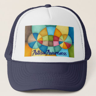 Colorful Geometric Abstract Autism Awareness Trucker Hat