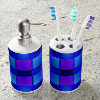 Colorful Geometric Abstract Pattern Soap Dispenser And Toothbrush Holder