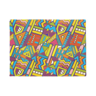 Colorful Geometric African Tribal Pattern Doormat