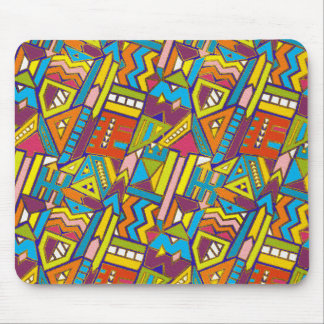 Colorful Geometric African Tribal Pattern Mouse Pad