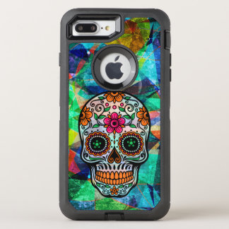 Colorful Geometric Background Floral Sugar Skull 2 OtterBox Defender iPhone 8 Plus/7 Plus Case