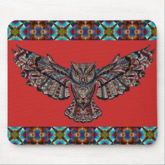 Colorful Geometric Design and Owl Mousepad
