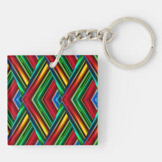 Colorful Geometric Design Double-Sided Key Chain