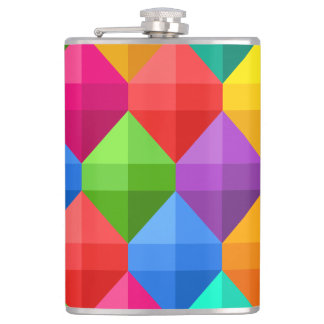 Colorful Geometric Diamond Pattern Flasks