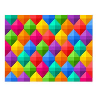 Colorful Geometric Diamond Pattern Postcard