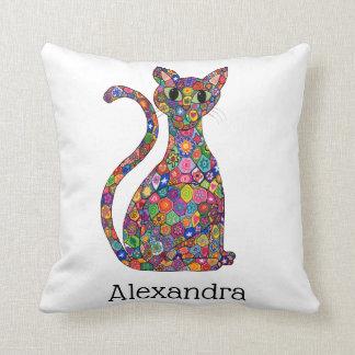 Colorful Geometric Flower Cat Monogram Name Throw Pillow