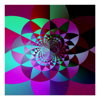 Colorful Geometric Fractal Abstract Poster