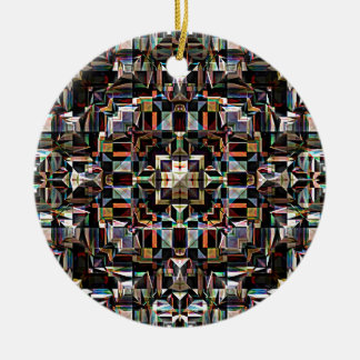 Colorful Geometric Mandala Abstract Round Ceramic Ornament