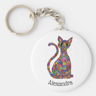 Colorful Geometric Millefiori Cat Monogram Name Keychain