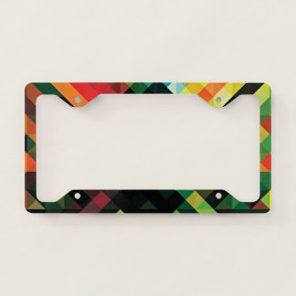 Colorful Geometric Mosaic Pattern License Plate Frame