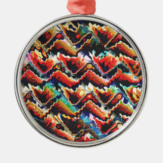 Colorful Geometric Motif Silver-Colored Round Ornament
