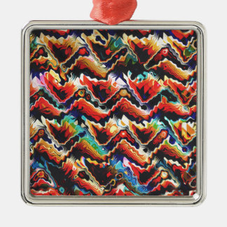 Colorful Geometric Motif Silver-Colored Square Ornament