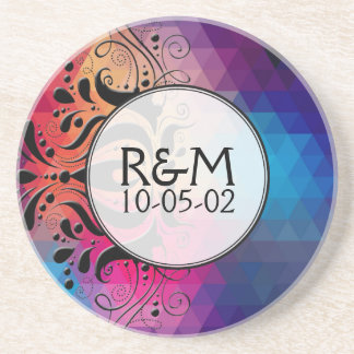 Colorful Geometric Ombre & Black Lace Wedding Gift Coaster