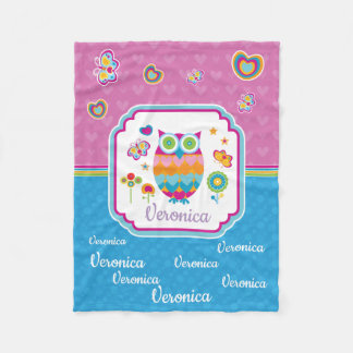 Colorful Geometric Owl with Butterfly and Flowers Fleece Blanket