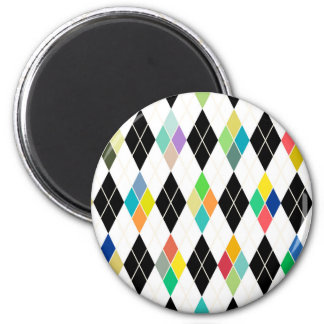 Colorful geometric pattern 2 inch round magnet