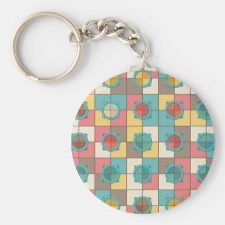 Colorful geometric pattern basic round button keychain