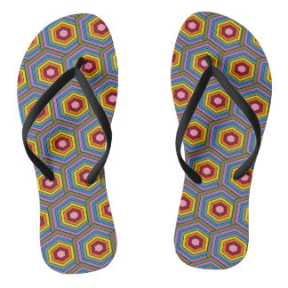 Colorful Geometric Pattern Design Flip Flops