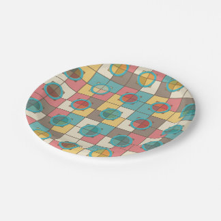Colorful geometric pattern paper plate