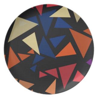 Colorful geometric pattern plate