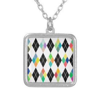 Colorful geometric pattern silver plated necklace