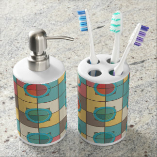 Colorful geometric pattern soap dispenser and toothbrush holder