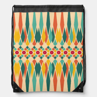 Colorful geometric pattern with abstract polygons drawstring bag
