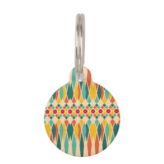 Colorful geometric pattern with abstract polygons pet name tag