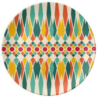 Colorful geometric pattern with abstract polygons plate