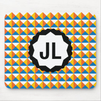 Colorful Geometric Pattern with Custom Monogram Mouse Pad