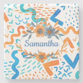 Colorful Geometric Pattern With Name Inside Flower Stone Coaster