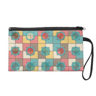 Colorful geometric pattern wristlet