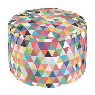 Colorful Geometric Patterned Round Pouf