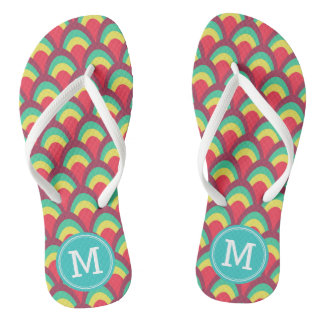 Colorful Geometric Personalize Name Monogram Flip Flops