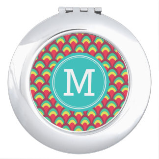Colorful Geometric Personalize with Monogram Compact Mirror