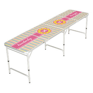 Colorful Geometric Pyramid Flower Ribbon Monogram Beer Pong Table
